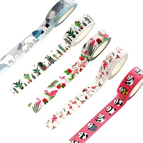 Cute Animal Flamingo Panda Polar Bear Cactus Washi Tape Set of 5 Rolls - Planner Decorative DIY Japanese Masking StickyWashi Tape Set (Width: 15mm)