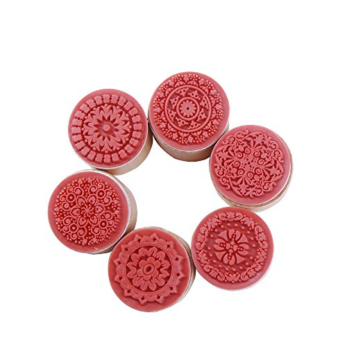 decora-6-pieces-floral-pattern-round-wooden-rubber-stamp-for-scrapbooking