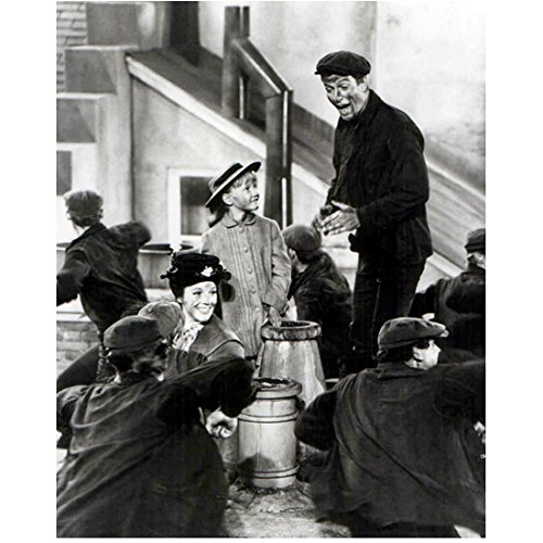 Mary Poppins (1964) 8 inch x10 inch photograph B&W Dick Van Dyke Standing & Singing Among Several Chimney Sweeps kn