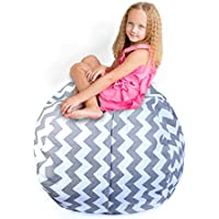 Storage Bean Bag Chair: 38-Inch Space Saver to Store Soft or Stuffed Toys, Blankets, or Organize, 3 Designs, Washable with Handle and Zipper