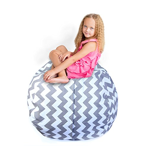 Storage Bean Bag Chair: 38-Inch Space Saver to Store Soft or Stuffed Toys, Blankets, or Organize, 3 Designs, Washable with Handle and Zipper by Orion Baby