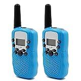 BestOpps Kids Walkie Talkies T-388 8 Channels 2-Way Radio Interphone with Built-in LED Torch VOX LCD Display,1 Pair (Blue)