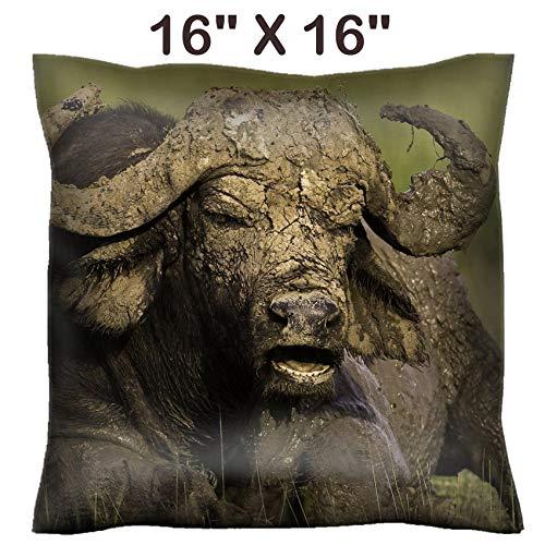Liili 16x16 Throw Pillow Cover - Decorative Euro Sham Pillow Case Polyester Satin Soft Handmade Pillowcase Couch Sofa Bed African Cape Buffalo Photo 20215705 ()