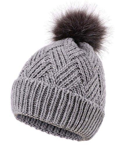 - Women's Diamond Weave Knit Faux Fur Pompom Winter Beanie, Charcoal