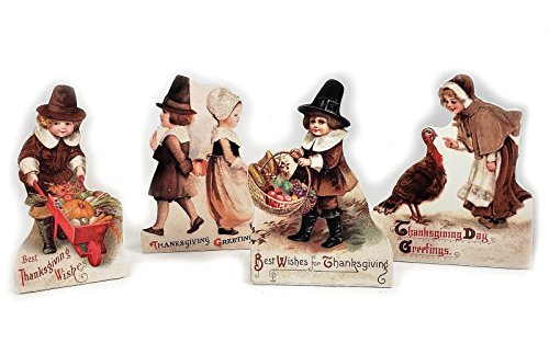 Bethany Lowe Thanksgiving Vintage Style Dummy Board Set of 4