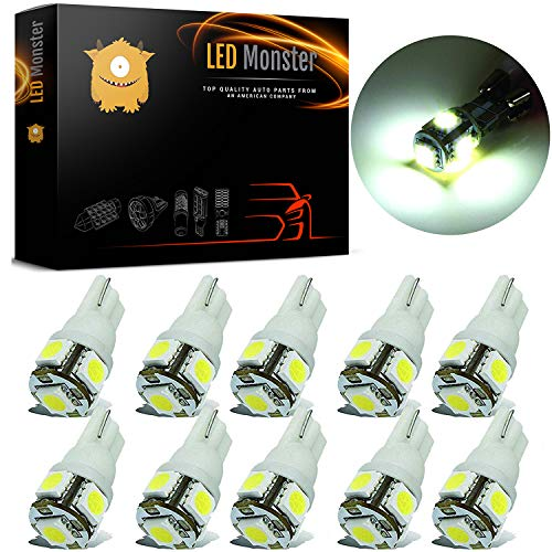 LED Monster 10-Pack White Interior Dome Map LED Bulbs 5 SMD Car License Plate Lights Lamp 12V 168 194 T10 5-SMD