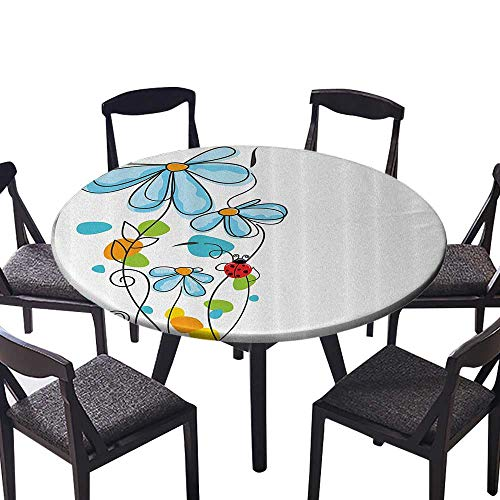 Fusion Dome Jack (Premium Round Tablecloth Flowers and Oval Dome Shaped Ladybugs Never Ending Love Story Machine Washable 31.5