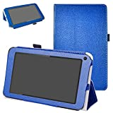 """DigiLand DL7006 / DL718M / DL721-RB Case,Mama Mouth PU Leather Folio 2-Folding Stand Cover with Stylus Holder for 7.0"""" DL7006 / DL718M / DL721-RB Android Tablet,Dark Blue"""
