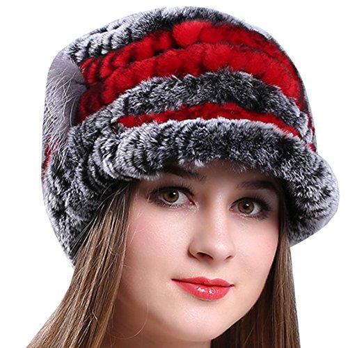 cf0b9435bdec0 Fourrure Chapeau Rouge Chapeaux Chapkas Femme Hiver Fille Fausse Bonnet  Casquette Ankoee qPBwaX1XR