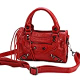 Gold-Tech Women Leather Black Studed Mini Motorcycle Bags Tassel Shoulder Cross-body Bags 8 Colors (24cm Length, Red)