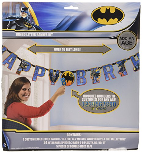 Batman Jumbo Add-An-Age Letter Banner, 1 Piece, Made from Paper, Birthday, Banner,10 1/2 feet,Letters,10