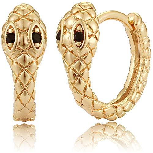 Mevecco Gold Tiny Small Snake Huggie Hoop Earrings for Women 14K Gold Plated Black Snake Cuff Earrings Dainty Snake Shaped Ch