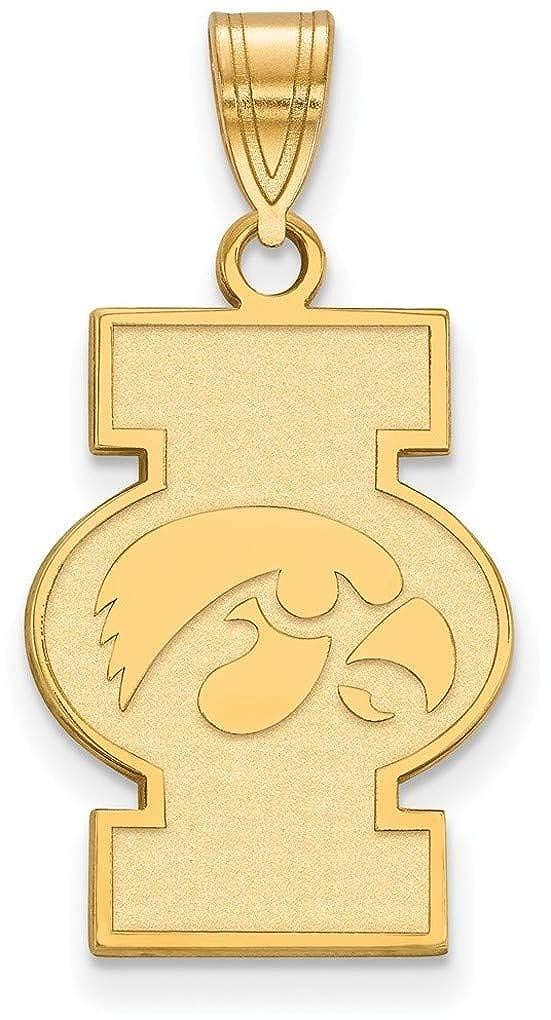Gold-Plated Sterling Silver University of Iowa Large Pendant by LogoArt GP075UIA