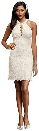 Review David's Bridal Short Halter Wedding Dress with Keyhole Cutout Style 21395D