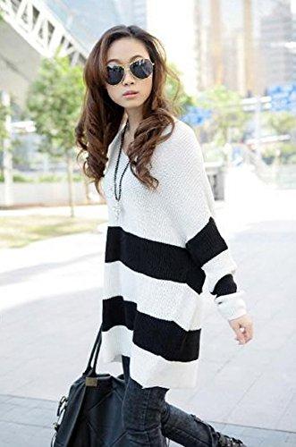 Souris Sweater Chauve V Longue Pull Blanc Rayure Manche Automne Over Col Femme Chandail Pull Lche Lukis Printemps Fille Noir gxPAXqA
