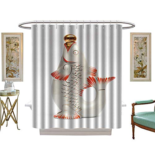 luvoluxhome Shower Curtains 3D Digital Printing Decanter in The Form of Fish Fabric Bathroom Set with Hooks W69 x L70