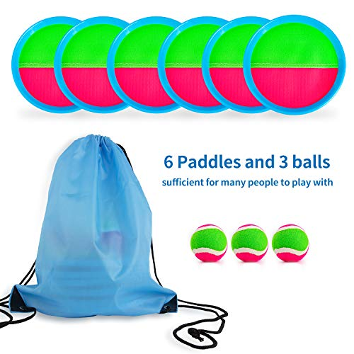 Perfect Outdoor Games Toys Gift for Kids//Adults Toss and Catch Ball Set Paddle Ball Game Set with 6 Paddles 3 Balls Aywewii Velcro Ball and Catch Game