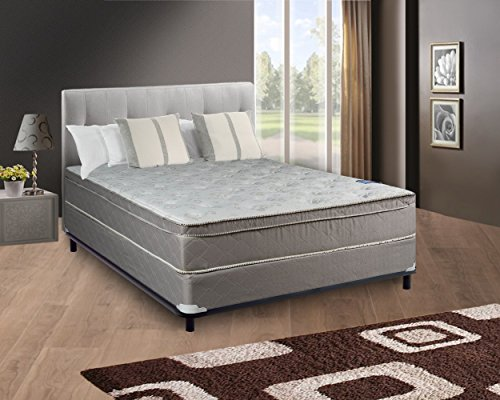 Continental Sleep, 11-inch Medium Plush Innerspring Eurotop Pillowtop Foam Encased Hybrid Mattress - Great for the back and Traditional Box Spring / Foundation Set, No Assembly Required Full Size