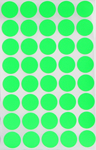 Round Label colored Dot Stickers 19mm 3/4 inch - Neon Green - 280 Pack by Royal Green