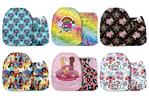 Mama Koala One Size Baby Washable Reusable Pocket Cloth Diapers, 6 Pack with 6 One Size Microfiber Inserts (Girl Power)