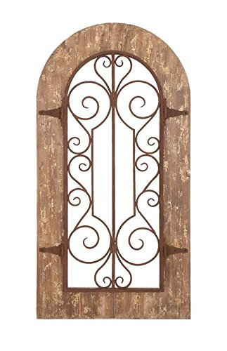 (Deco 79 Wooden and Metal Wall Panel with Stately Design and Antiqued Look)