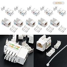 LeaningTech 10 Pcs CAT6 RJ45 Ethernet Module Punch-Down Keystone Jack Inline Coupler, Cat 6/5e/5 Connector