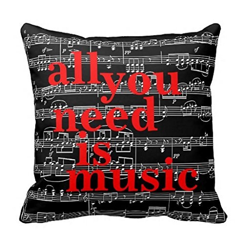 Music Notes Themed Decor Throw Pillow Case (London Themed Pillows)