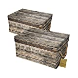 Livememory Storage Bins Stackable Storage Boxes with Lid and Handles for Office, Bedroom, Closet, Toys-Wood Grain (2 Pack)