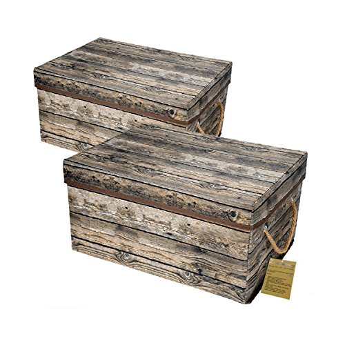 Livememory Storage Bins Stackable Storage Boxes with Lid and Handles for  Office, Bedroom, Closet, Toys. Wooden Look (2 Pack)