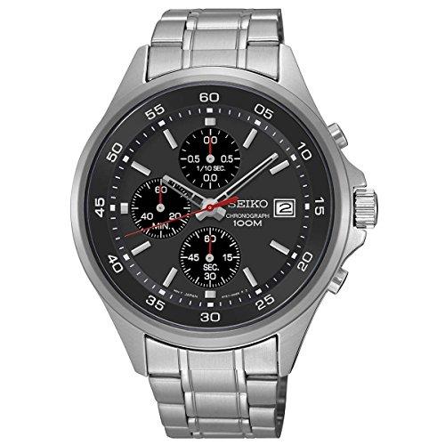 Seiko-Quartz-Black-Dial-Stainless-Steel-Chronograph-Mens-Watch-SKS477