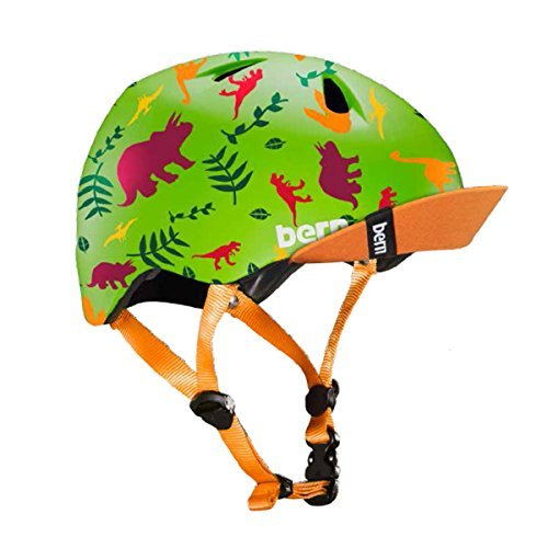Bern Unlimited Tigre w/Fidlock Magnetic Buckle Helmet w/Flip Visor (Satin Green Dino) For Sale
