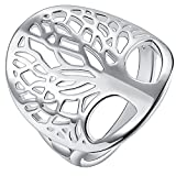 AWLY Jewelry Women 925 Sterling Silver Tree Shape Design Filigree Hollow Promise Ring for Wife Girlfriend