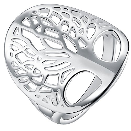 Filigree Design Ring Ring (AWLY Jewelry Women 925 Sterling Silver Tree Shape Design Filigree Hollow Promise Ring for Wife Girlfriend Size 8)