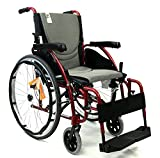 "New Karman S-Ergo 125 ( S-Ergo125F16RS ) Ergonomic Wheelchair with Flip-Back Armrest and Swing Away Footrest in Red, 16"" Seat Width"