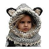 OUYAJI Baby Kids Cute Warm Winter Shawl Hat Snow Scarf Knitting Wool Fox-like Hat Gray