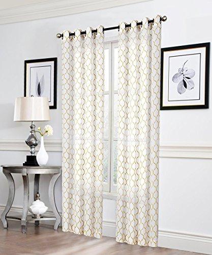 2 Pack: Morgan Premium Semi Sheer Flocked Lattice Grommet Curtains - Assorted Colors (Gold)