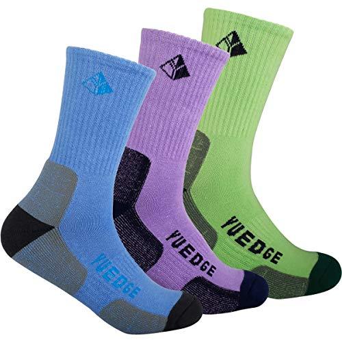 YUEDGE Womens Cotton Wicking Cushion Crew Socks Outdoor Sports Trekking Running Climbing Hiking Socks (Purple/Blue/Tender Green, L(Women Shoe 5.5-9.5 US Size))
