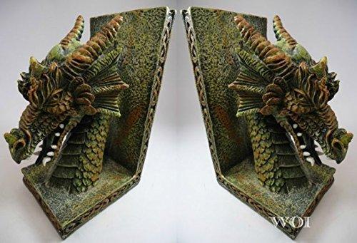 Guardian Garden Statue (Medieval Model Guardian Dragon Head Art Statue Mythical Book Ends Holder)