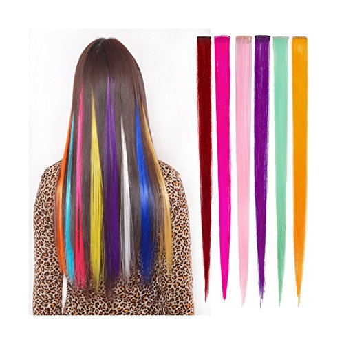 Thinkmax 22 Inch Straight Colored Party Highlight Clip on in Hair Extensions Multiple Colors 24pcs