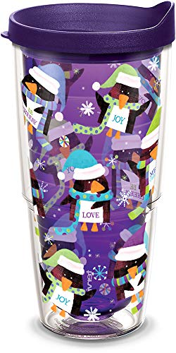 Tervis 1308273 Holiday Penguins Insulated Tumbler with Wrap and Royal Purple Lid, 24oz, Amethyst ()