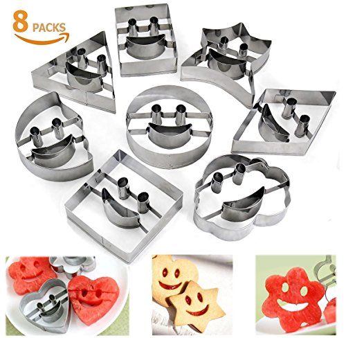 Joyoldelf Cookie Cutters Set - 8 Pcs Large Stainless Steel Biscuit Cutter Mould with Happy Face Shape for Cutting Sandwich Crust Bread Bento Pastry Vegetables - Face Heart Shape