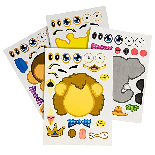 48 Make-A-Zoo Animal Sticker Sheets - Great Zoo And Safari Theme Birthday Party Favors - Fun Craft Project For Children 3+ - Let Your Kids Get Creative & Design Their (Make Craft Hats)