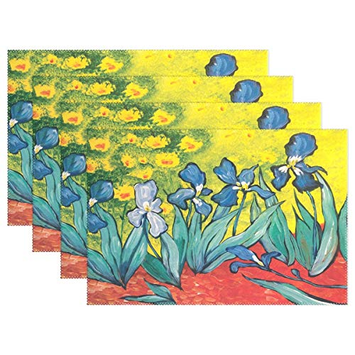 Promini Heat-Resistant Placemats, Amazing Iris Art Washable Polyester Table Mats Non Slip Washable Placemats for Kitchen Dining Room Set of 4 ()