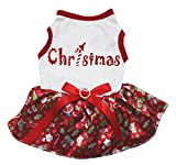 Petitebella Bling Christmas White Shirt Red Snowman Tutu Puppy Dog Dress (Small)