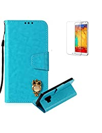 Funyye Blue Premium Wallet Cover for Samsung Galaxy S9,Cute 3D Owl Pattern Design Strap Magnetic Flip Detachable Case with Stand Card Holder Slots Cover for Samsung Galaxy S9,Anti Scratch Full Body Protective Soft Silicone PU Leather Case for Samsung Galaxy S9 + 1 x Free Screen Protector