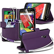 ONX3® ( Purple ) Motorola Moto G 4G (2015) 2nd generation Case Custom Made BookStyle PU Leather Wallet Flip With Credit / Debit Card Slot Case Skin Cover With LCD Screen Protector Guard, Polishing Cloth, Aluminium In Ear Earbud Stereo Hands Free Earphone & Mini Retractable Stylus Pen