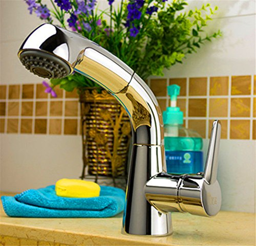 Gyps Faucet Basin Mixer Tap Waterfall Faucet Antique Bathroom Pull The tap high-Plated Basin Kitchen Night (8AC1),Modern Bath Mixer Tap Bathroom Tub Lever Faucet (Basin Plated Mixer)