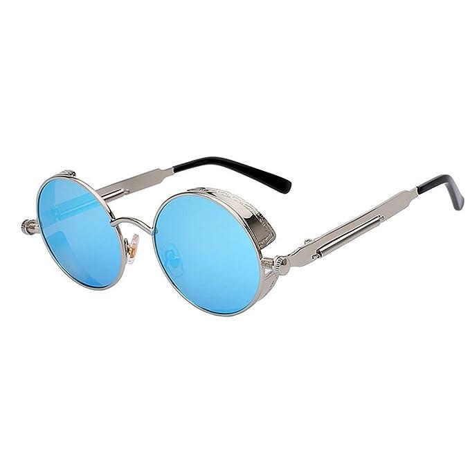 Culater® Retro lente a specchio tondo Occhiali Cyber Occhiali Steampunk occhiali da sole vintage (E) it5Kk