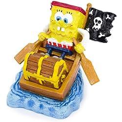 """Aquaficial Penn Plax Spongebob Squarepants Dora The Explorer Aquarium Ornament Figure (Spongebob Squarepants, 2"""" Spongebob Pirate in Rowboat Boat)"""