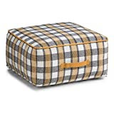 Simpli Home Shannon Square Pouf, Plaid